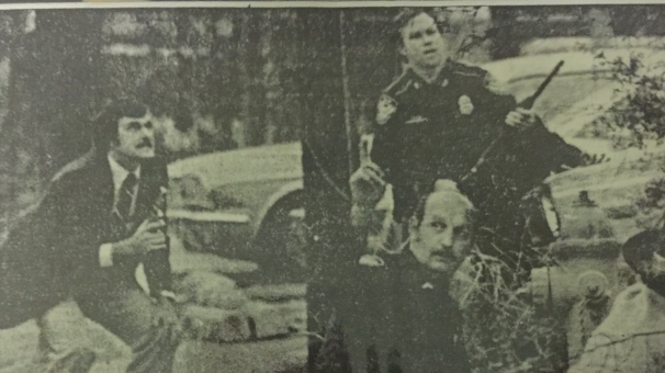 Bank Robbery stand off, Charlie Owens left, Joe Ryder bottom , Pat McGaha with shot tun.